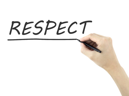 decent: respect word written by mans hand on white background