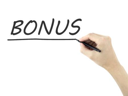 additional compensation: bonus word written by mans hand on white background