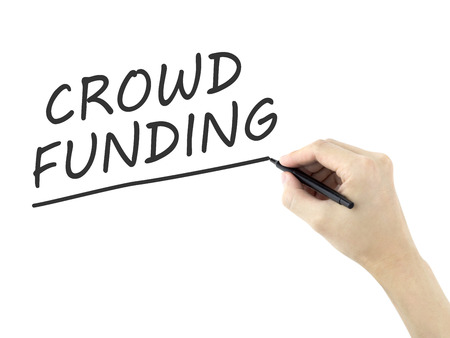 crowd sourcing: crowdfunding words written by mans hand on white background