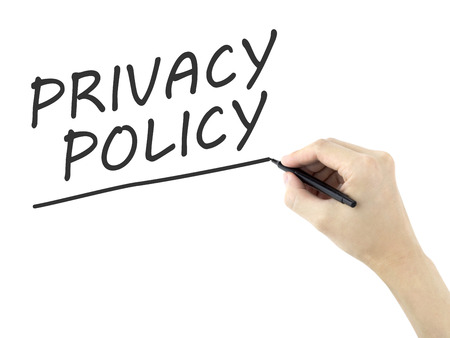company secrets: privacy policy words written by mans hand on white background Stock Photo