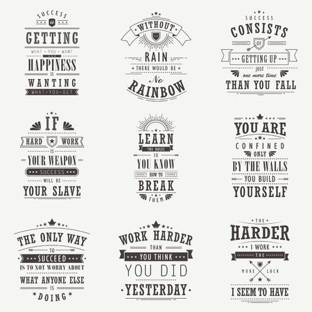 succes motiverende en inspirerende citaten set geïsoleerd op beige achtergrond