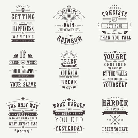 success motivational and inspirational quotes set isolated on beige background Ilustração