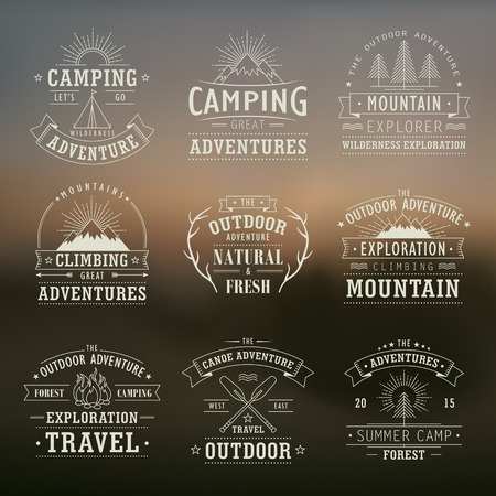 set of wilderness and nature exploration vintage emblems