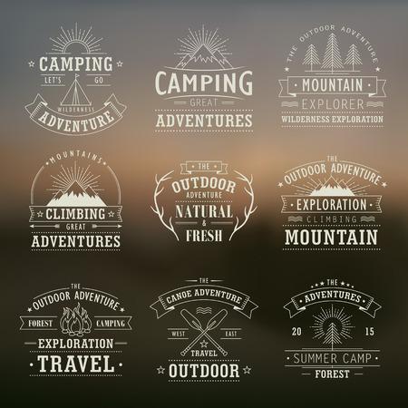 wilderness: set of wilderness and nature exploration vintage emblems