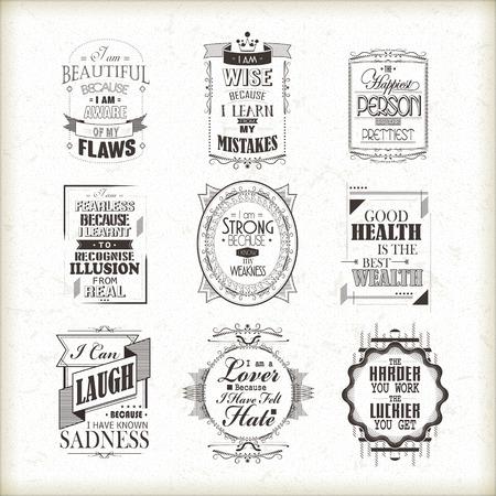 beige stof: leven motiverende en inspirerende citaten set geïsoleerd op beige achtergrond Stock Illustratie
