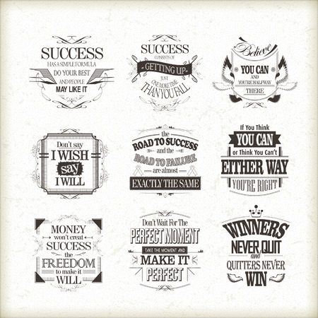 success motivational and inspirational quotes set isolated on beige background Vectores