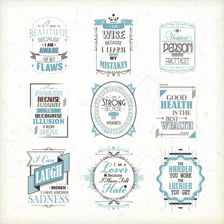 sentence: life quotes set isolated on beige background