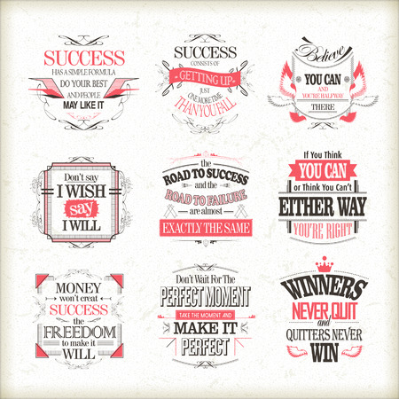 success motivational and inspirational quotes set isolated on beige background Illustration