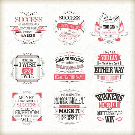 motivational: success motivational and inspirational quotes set isolated on beige background Illustration