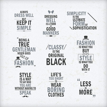 fashion attitude quotes set isolated on beige background