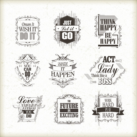 positive quotes set isolated on beige background