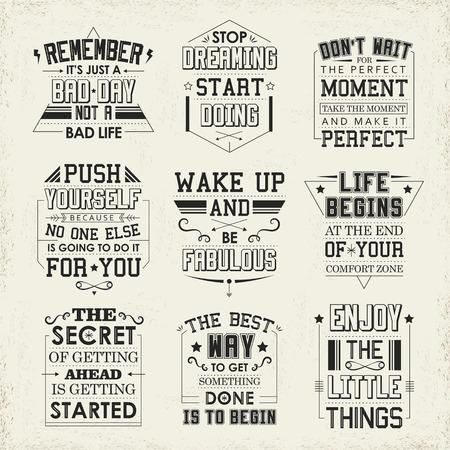 life: citations de la vie set isolés sur fond beige Illustration