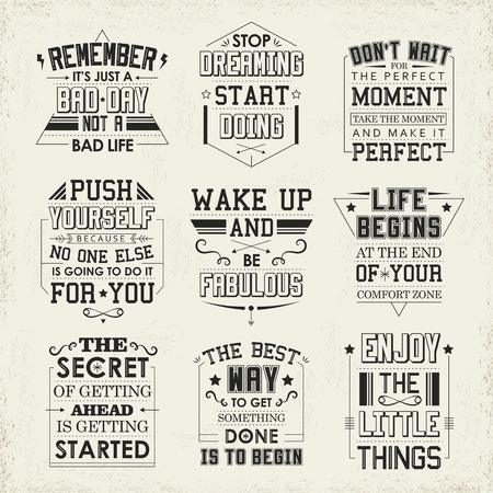 life quotes set isolated on beige background