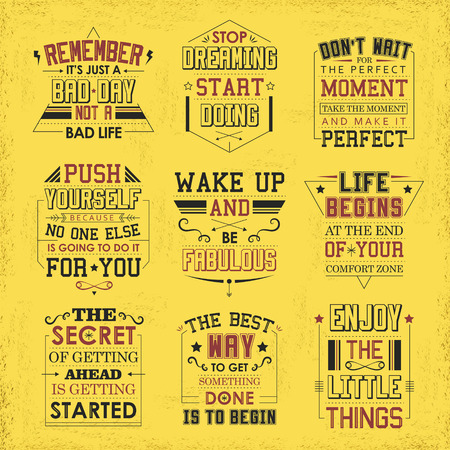 quotes: life quotes set isolated on yellow background Illustration