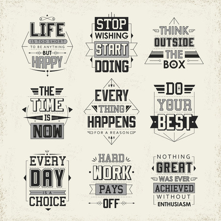quotes: life quotes set isolated on beige background