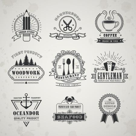 specialty: vintage style emblems set over beige background Illustration