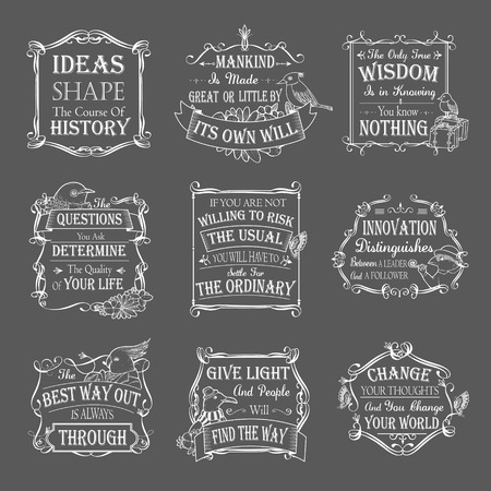 motivational and inspirational quotes set isolated on grey background Illustration