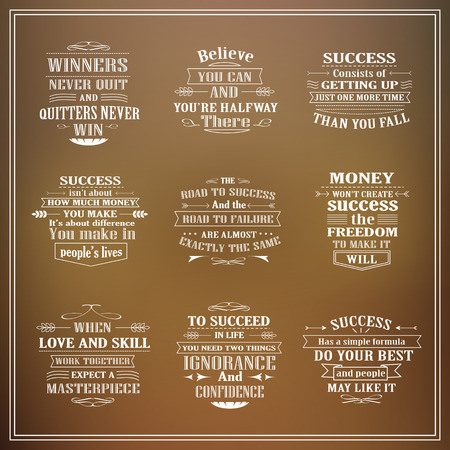 success: motivational and inspirational quotes set isolated on blurred background