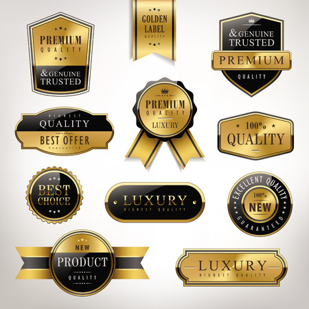 metal plate: luxury premium quality golden labels collection over pearl white background