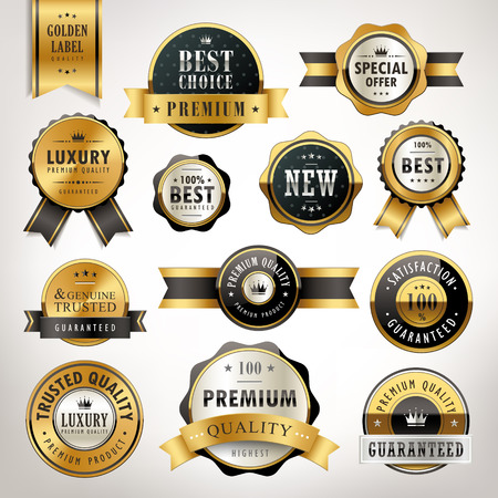 seal: luxury premium quality golden labels collection over pearl white background
