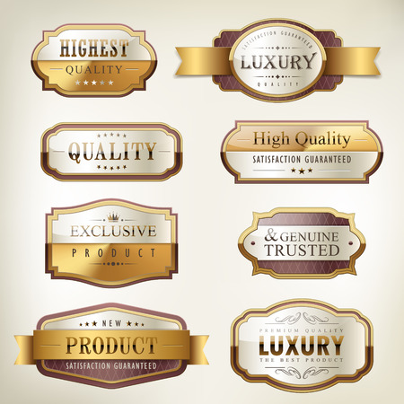 best quality: luxury premium quality golden plates collection over pearl white background