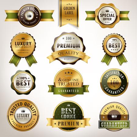 reconocimientos: calidad superior de lujo colección de etiquetas de oro sobre fondo blanco perla