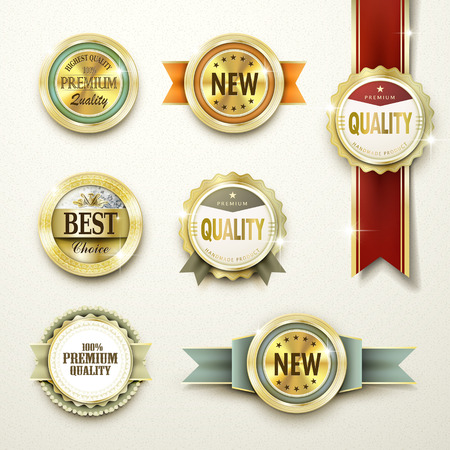 circle label: premium quality gorgeous golden labels collection over beige