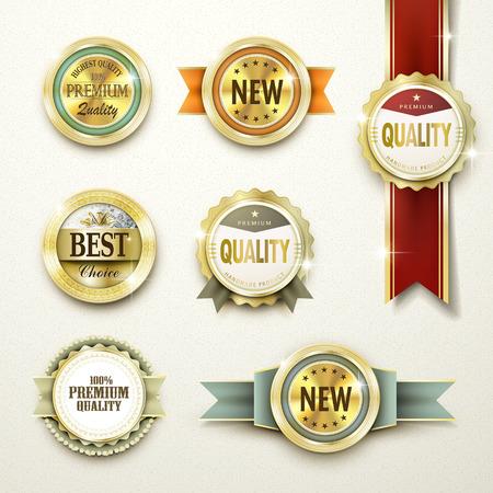 the label: primera calidad magn�fica colecci�n de etiquetas de oro sobre amarillento