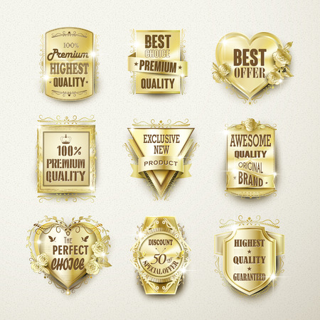 best quality: premium quality elegant golden labels collection over beige Illustration