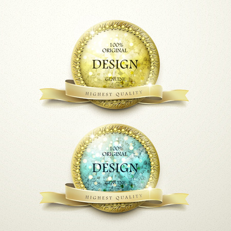 premium quality golden labels with diamond elements over beige background