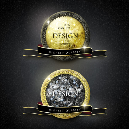 premium quality golden labels with diamond elements over black background