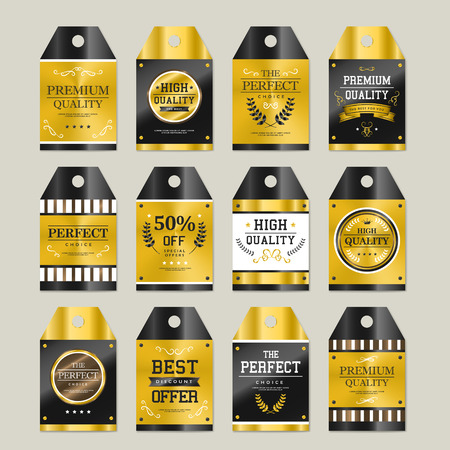original sparkle: premium quality sparkling golden labels collection over grey Illustration