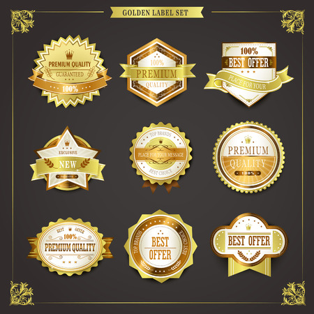 sign plate: elegant premium quality golden labels collection over black