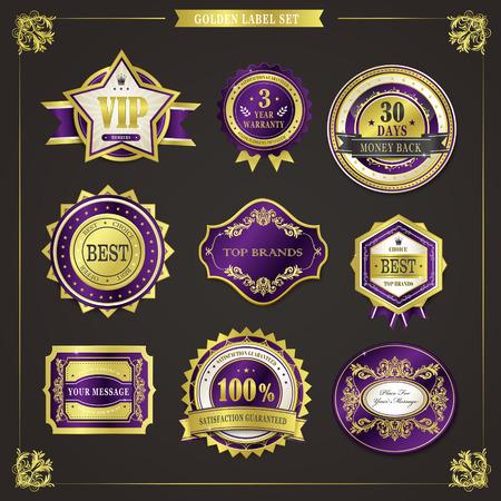 gold seal: elegant premium quality golden labels collection over black