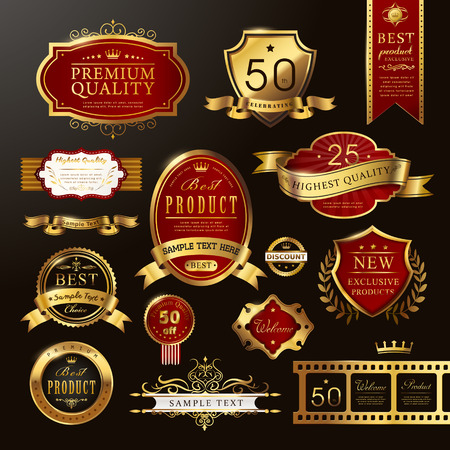 web design banner: elegant premium quality golden labels collection over black