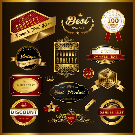 guarantee seal: gorgeous premium quality golden labels collection over black