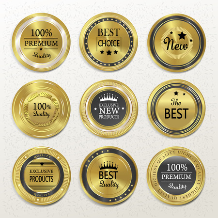 premium quality round gold labels collection over beige Illustration