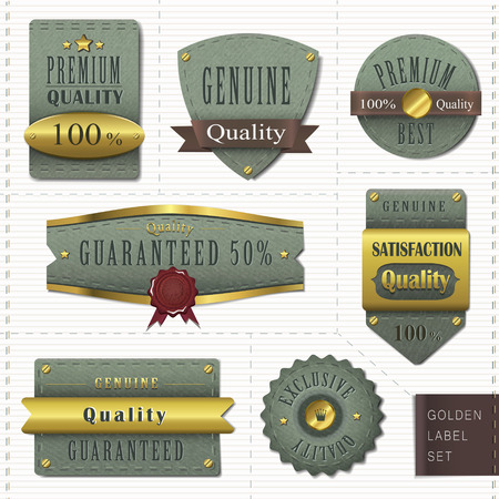 sew tags: retro premium quality golden labels collection over white