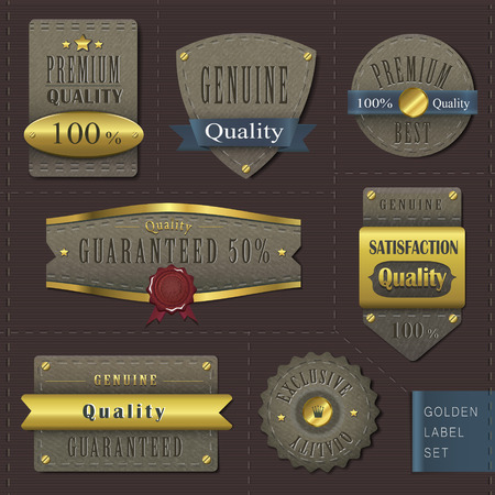 brown design: retro premium quality cloth labels with golden elements over dark