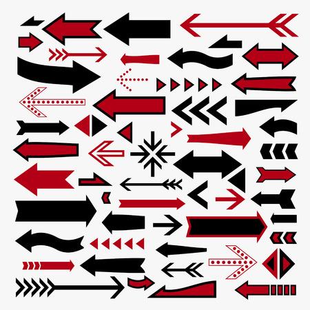 flechas curvas: iconos flechas encantadoras establecen sobre fondo blanco Vectores