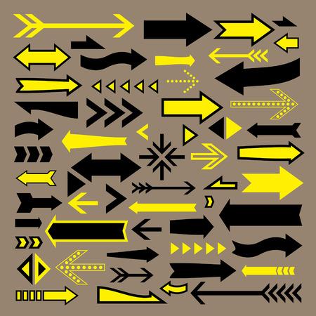 flechas curvas: iconos flechas encantadoras establecen sobre fondo marrón Vectores