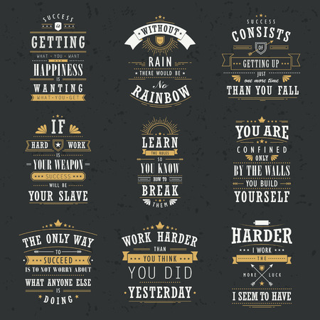 sentence: success motivational and inspirational quotes set isolated on black background