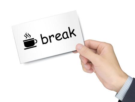 cansancio: tarjeta de descanso en la mano aisladas sobre fondo blanco Foto de archivo