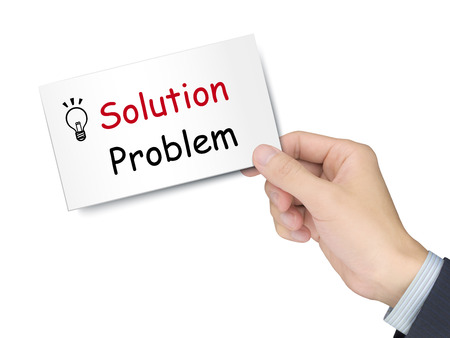 great suit: solution and problem card in hand isolated over white background Stock Photo
