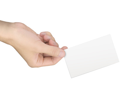 business concept: hand holding a business card over white background photo