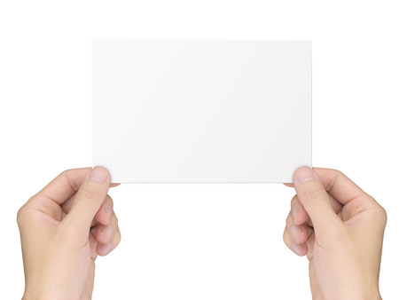 notepaper: business concept: hands holding a notepaper over white background