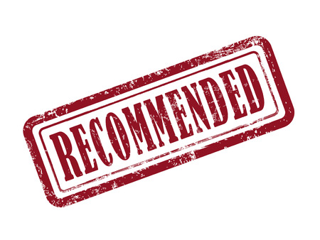 recommended: stamp recommended in red over white background