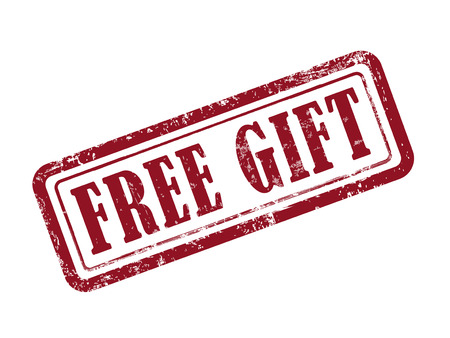 free gift: stamp free gift in red over white background