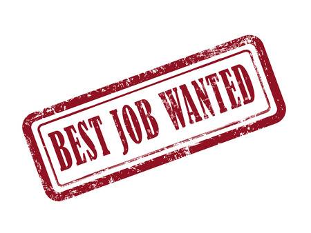 help wanted: stamp best job wanted in red over white background