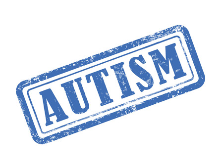 retail therapy: stamp autism in blue over white background